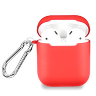 Transparent Silicone Protective Case with Carabiner Clip for Apple AirPods - Red