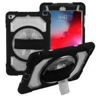 3-IN-1 Hybrid Armor Case with Rotatable Hand Strap and Stand for iPad Mini 5 (5th Generation) / iPad Mini 4 - Clear