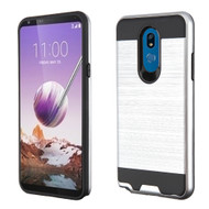 Brushed Coated Hybrid Armor Case for LG Stylo 5 - Silver