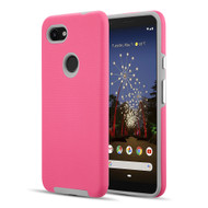 *Sale* Haptic Football Textured Anti-Slip Hybrid Armor Case for Google Pixel 3a - Hot Pink