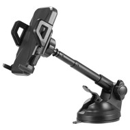 Windshield and Dashboard Telescopic Car Mount Phone Holder - Black