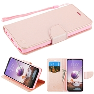 *Sale* Crossgrain Series Diary Leather Wallet Stand Case for LG Stylo 5 - Rose Gold