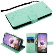 *SALE* Embossed Butterfly Flower Leather-Style Wallet Stand Case for LG Stylo 5 - Teal Green