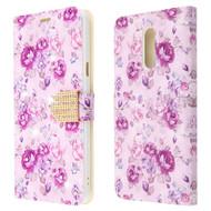 *Sale* Diamond Series Luxury Bling Portfolio Leather Wallet Case for LG Stylo 5 - Fresh Purple Flowers