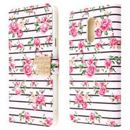 *Sale* Diamond Series Luxury Bling Portfolio Leather Wallet Case for LG Stylo 5 - Pink Fresh Roses