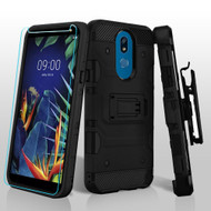 3-IN-1 Military Grade Certified Storm Tank Hybrid Case + Holster + Tempered Glass Screen Protector for LG K40 - Black