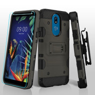 3-IN-1 Military Grade Certified Storm Tank Case + Holster + Tempered Glass Screen Protector for LG K40 - Grey