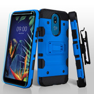 3-IN-1 Military Grade Certified Storm Tank Hybrid Case + Holster + Tempered Glass Screen Protector for LG K40 - Blue