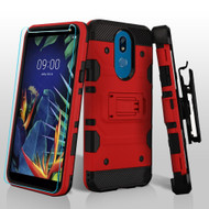 3-IN-1 Military Grade Certified Storm Tank Case + Holster + Tempered Glass Screen Protector for LG K40 - Red