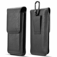 Premium Triple Slot Vertical Leather Pouch Case - Black