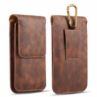 Premium Triple Slot Vertical Leather Pouch Case - Brown