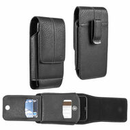 Xtra Series Premium Vertical Leather Pouch Case - Black