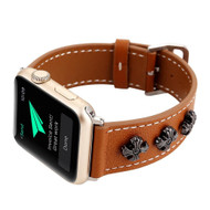 Stylized Cross Genuine Leather Strap Watch Band for Apple Watch 44mm / 42mm - Brown