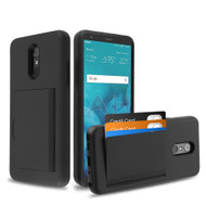 Poket Credit Card Hybrid Armor Case for LG Stylo 4 / Stylo 4 Plus - Black