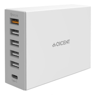 Desktop 6 Ports Quick Charge 2.0 and Type-C USB Charger - White