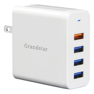 4 Ports USB Wall Charger Power Adapter with Quick Charge 3.0 Technology - White