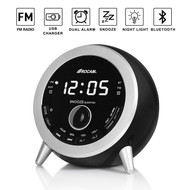 Bluetooth V4.1 Wireless Speaker with Alarm Clock, FM Radio and USB Charger - Black