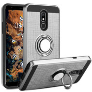 *Sale* Sports Hybrid Armor Case with Smart Loop Ring Holder for LG Stylo 5 - Silver