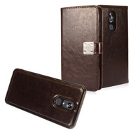 *SALE* Premium Leather Wallet with Removable Magnetic Case for LG Stylo 5 - Dark Brown