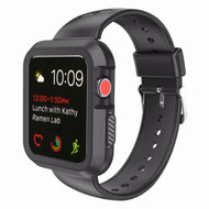 Rugged Sport Silicone Case with Band for Apple Watch 38mm - Black