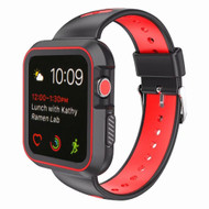 Rugged Sport Silicone Case with Band for Apple Watch 38mm - Black Red