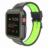 Rugged Sport Silicone Case with Band for Apple Watch 38mm - Black Volt