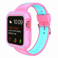 Rugged Sport Silicone Case with Band for Apple Watch 38mm - Pink Teal Green