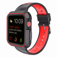 Rugged Sport Silicone Case with Band for Apple Watch 40mm Series 4 - Black Red