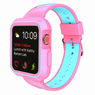 Rugged Sport Silicone Case with Band for Apple Watch 40mm Series 4 - Pink Teal Green