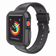 Rugged Sport Silicone Case with Band for Apple Watch 44mm Series 4 - Black