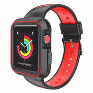 Rugged Sport Silicone Case with Band for Apple Watch 44mm Series 4 - Black Red