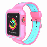 Rugged Sport Silicone Case with Band for Apple Watch 44mm Series 4 - Pink Teal Green