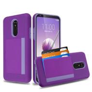 Poket Credit Card Hybrid Armor Case for LG Stylo 5 - Purple