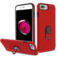 Fuse Slim Armor Hybrid Case with Metal Ring Finger Loop Stand for iPhone 8 Plus / 7 Plus / 6S Plus / 6 Plus - Red