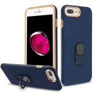 Fuse Slim Armor Hybrid Case with Metal Ring Finger Loop Stand for iPhone 8 Plus / 7 Plus / 6S Plus / 6 Plus - Navy Blue