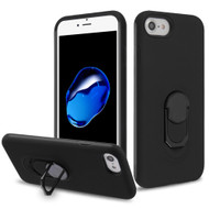 Fuse Slim Armor Hybrid Case with Metal Ring Finger Loop Stand for iPhone 8 / 7 / 6S / 6 - Black