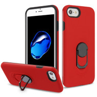 Fuse Slim Armor Hybrid Case with Metal Ring Finger Loop Stand for iPhone 8 / 7 / 6S / 6 - Red
