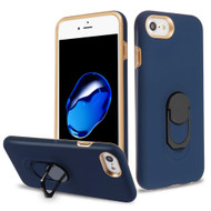 Fuse Slim Armor Hybrid Case with Metal Ring Finger Loop Stand for iPhone 8 / 7 / 6S / 6 - Navy Blue
