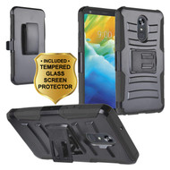 Advanced Armor Hybrid Kickstand Case with Holster and Tempered Glass Screen Protector for LG Stylo 5 - Black