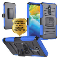 *Sale* Advanced Armor Hybrid Kickstand Case with Holster and Tempered Glass Screen Protector for LG Stylo 5 - Blue