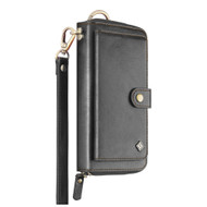 Leather Clutch Wristlet Wallet Purse with Cell Phone Compartment - Black
