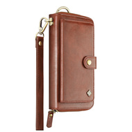 Leather Clutch Wristlet Wallet Purse with Cell Phone Compartment - Brown