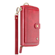 Leather Clutch Wristlet Wallet Purse with Cell Phone Compartment - Red