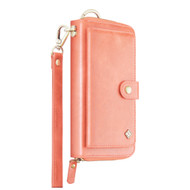 Leather Clutch Wristlet Wallet Purse with Cell Phone Compartment - Pink