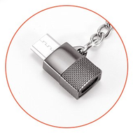 Micro-USB to USB-C (Type-C) Adapter with Key Ring - Black