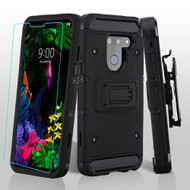 3-IN-1 Kinetic Hybrid Armor Case with Holster and Tempered Glass Screen Protector for LG G8 ThinQ - Black