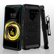 *Sale* 3-IN-1 Kinetic Hybrid Armor Case with Holster and Tempered Glass Screen Protector for LG V50 ThinQ - Black