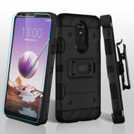 3-IN-1 Military Grade Certified Storm Tank Case + Holster + Tempered Glass Screen Protector for LG Stylo 5 - Black