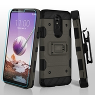 3-IN-1 Military Grade Certified Storm Tank Case + Holster + Tempered Glass Screen Protector for LG Stylo 5 - Dark Grey