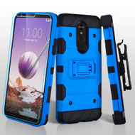 3-IN-1 Military Grade Certified Storm Tank Case + Holster + Tempered Glass Screen Protector for LG Stylo 5 - Blue